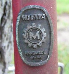 Miyata Handmade Japan head badge Brand:Miyata Country:Japan Years:1980's Found On:Vintage Lightweights VeloBase.com - Head Badge Gallery
