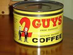 VINTAGE {RARE} 2 GUYS FROM HARRISON KEY WIND COFFEE TIN*CANCO*HARRISON N.J. #2guys