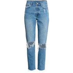 Vintage High Cropped Jeans 399 (€34) ❤ liked on Polyvore featuring jeans, pants, high waisted jeans, destroyed jeans, ripped jeans, high rise jeans and blue denim jeans
