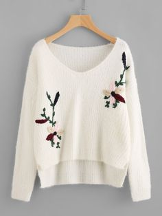 To find out about the Flower Embroidered High Low Fuzzy Jumper at SHEIN, part of our latest Sweaters ready to shop online today! Embroidered Clothes, Embroidered Flowers, Coats For Women, T Shirts For Women, Clothes For Women, Down Parka Women, Cap Dress, Pullover, Fashion 2020