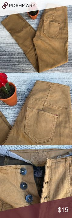 Camel high-waisted skinny jeans Button fly high waisted jeans in an ochre-camel-caramel color.  They have a paneled riding pant style, and are tight fitting and SKINNY!  These are beyond sexy when worn.  Interesting earth tone color in EUC.  No flaws!  They fit like a women's size 4. Irene's Story Jeans Skinny