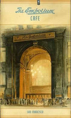 Illustration of the entrance to the old emporium department store on market street,San Francisco ,ca