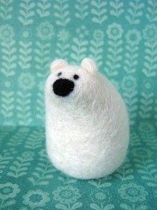 Needle Felted Polar Bear Wool Sculpture by BirdonWireStudio | Kaboodle