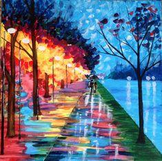 Acrylic art painting rain trees lights night original no