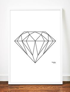 Diamond Print Geometric Digital Download Printable File by sandybanner, $4.25 Minimalist Art Scandinavian Black and White Art