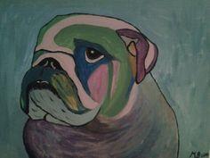 Art schilderij van een enegelse bulldog