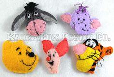 Winnie the Pooh, Piglet, Tigger, Eeyore, and Heffalump - Handmade felt hair clips and pins,