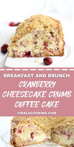 A sweet and creamy cheesecake-like layer and a tender crumb topping adorn this festive Cream Cheese Cranberry Coffee Cake. Delicious with breakfast or for an afternoon treat during the holidays. Creamy Cheesecake Recipe, Cranberry Cheesecake, Easy Cheesecake Recipes, Delicious Cake Recipes, Cranberry Recipes, Yummy Cakes, Dessert Recipes, Brunch Recipes, Yummy Treats