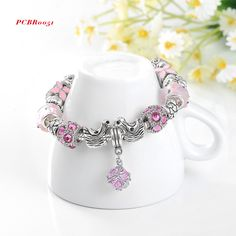 Antique Silver Original Women Glass Charm Bracelet & Bangle Fit European Charm Bracelet Luxury Bijoux 1