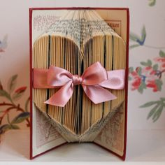 Folded Heart Upcycled Book Art Sculpture