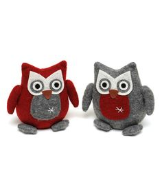 Look at this #zulilyfind! 5.5'' Swedish Owl Ornament - Set of Two #zulilyfinds
