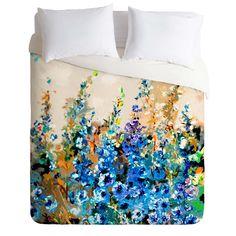 Ginette Fine Art Delphiniums Jardin Bleu Duvet Cover | DENY Designs Home Accessories