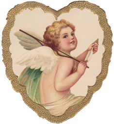 Wings Of Whimsy: French Cherub In Gilded Heart - free for personal use Retro Images, Vintage Images, French Vintage, Victorian Valentines, Vintage Valentine Cards, My Funny Valentine, Decoupage Vintage, Vintage Ephemera, Decoupage Paper