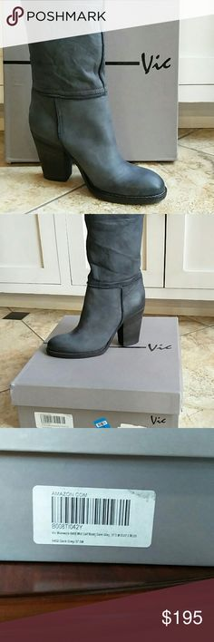 New Italian Leather Vic Mid Calf Dark Grey Boots Vic Brand Italian Leather Women's Mid Calf Boots Dark Grey Smog Color Purchased from Amazon but the heel was too high for my mother They have been tried on but never worn Genuine Italian Leather 3.5 inch heel Overall 12 inches high 6 inch diameter at top of boot Vic Shoes Heeled Boots