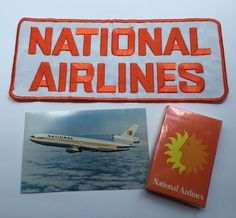 Vintage National Airlines Lot Patch Postcard Playing Cards 1970s Defunct