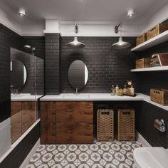jak urządzić czarną łazienkę,płytka cegielka w czarnym kolorze,modne płytki cegiełki na ścianę,czarna glazura w łazience,aranzacja czarnej łazienki,szafki z akacjowego drewna,łazienkowe dekoracje i dodatki,okragłe czarne lustro,industrialne kinkiety w łazience,etniczna terakota w łazience,modne wzory płytek na podłogę w łazience,czarno-biała łazienka w stylu mieszanym z industrialnymi akcentami,plecione kosze brązowe i szare,wyplatane pojemniki do łazienek