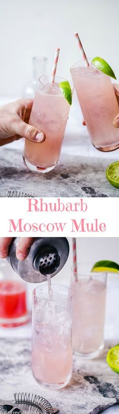 Delicious Moscow Mule is a mix of vodka, lime and ginger beer, made even more alluring with the addition of a rhubarb syrup. Delicious Moscow Mule is a mix of vodka, lime and ginger beer, made even more alluring with the addition of a rhubarb syrup. Fancy Drinks, Summer Drinks, Cocktail Drinks, Cocktail Recipes, Pink Cocktails, Beach Drinks, Drink Recipes, Moscow Mule, Rhubarb Syrup