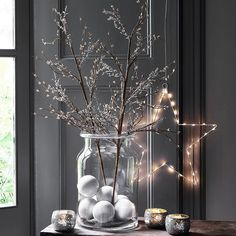 Fill a larger glass vase with Christmas decorations and baubles. Then place our bramble branches and arrange for a simple and effective Christmas display. Perfect for a table centrepiece or alternative Christmas tree in Living Room. Christmas Room, Christmas Wreaths, Christmas Crafts, Christmas Tree Table, Holiday Ornaments, Spring Wreaths, Christmas Fashion, Christmas Sale, Simple Christmas