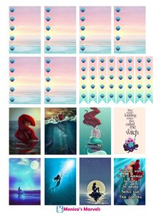 """""""sticker kit"""" Little Mermaid Full Boxes (the happy planner by MAMBI) sticker. Free printable sticker layout may be subject to copyright not intended for retail; personal use only:"""