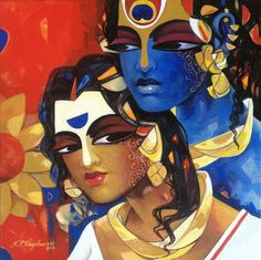 """New artwork added on IndianArtCollectors.com!  """"Couple -11"""" by NP Razeshwarr Acrylic On Canvas, Size(inches): 12X12  See more artworks by NP Razeshwarr at: http://www.indianartcollectors.com/artist/NPRazeshwarr"""