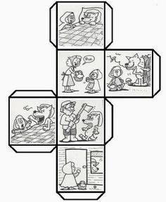 Have students color, cut, fold, and paste to make a story cube that can be used to retell Story Cubes, English Activities, Book Activities, Little Pigs, Little Red, Traditional Tales, Retelling, Red Riding Hood, Teaching Reading