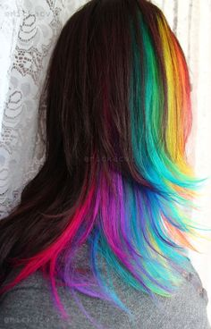 Brown Hair with Rainbow Underneath! LOVE