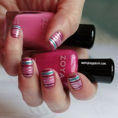 Beautiful Stripped #Nail Art with #Zoya