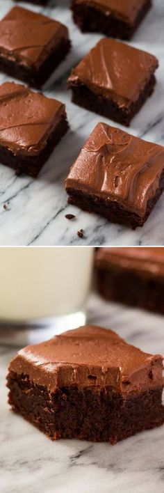 So fudgy, so delicious & slathered with a thick layer of cream cheese chocolate frosting - you NEED to make these brownies! So fudgy, so delicious & slathered with a thick layer of cream cheese chocolate frosting - you NEED to make these brownies! Brownie Desserts, Oreo Dessert, Brownie Recipes, Dessert Bars, Chocolate Desserts, Just Desserts, Cookie Recipes, Dessert Recipes, Brownie Cake