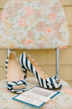 Striped wedding shoes | photo by Emily Delamater | 100 Layer Cake