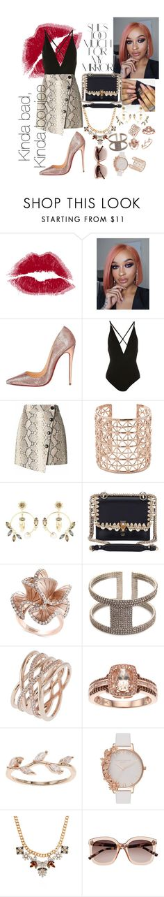 """""""#boujee💋"""" by lil-lydia ❤ liked on Polyvore featuring Christian Louboutin, Oh My Love, Banana Republic, Co.Ro, Erdem, Fendi, Rika, Effy Jewelry, Kelly & Katie and Accessorize"""