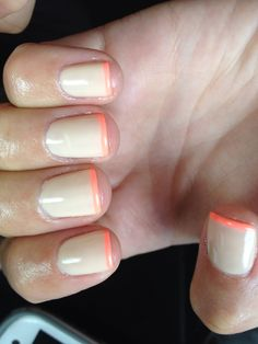 Nails shellac gelish gel nails nail art neon tan nude