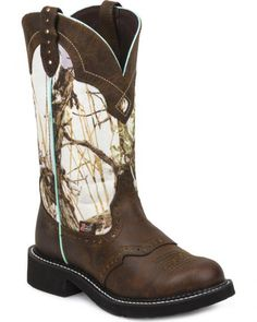 JUSTIN GYPSY WOMEN'S WINTER CAMO DIAMOND COWGIRL BOOTS - ROUND TOE