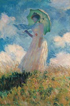 Mujer con sombrilla mirando a la izquierda. Claude Monet