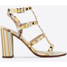 Valentino Garavani Rockstud Sandal (€525) ❤ liked on Polyvore featuring shoes, sandals, multicoloured, multi color sandals, high heel shoes, toe thongs, studded sandals and flat thong sandals