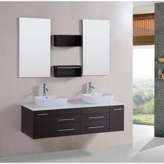 Belvedere Modern Double Vessel Bathroom Vanity with Stone Top (Espresso (Brown)), Size Double Vanities Wood Vanity, Vanity Sink, Vanity Cabinet, Bathroom Wall Decor, Modern Bathroom, Bathroom Ideas, Cleaning Faucets, Best Bathroom Vanities, Vanity Bathroom