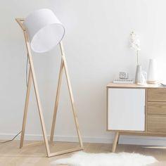 Scheinwerfer-Stehlampe CREATIVE aus Holz und naturfarbener Baumwolle, H 160 cm