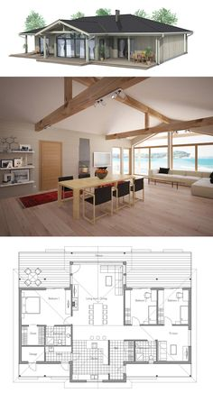 Haus bungalow Modern House Plan, Home Plans, Floor Plans House Plans One Story, Modern House Plans, Small House Plans, House Floor Plans, Bedroom Layouts, Small House Design, Wood Plans, Home And Deco, House In The Woods