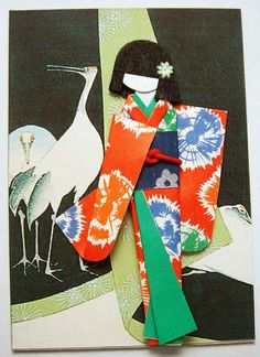 Japanese doll with two storks...