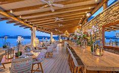 A sneak peek to the Santa Marina experience! Beach Restaurant Design, Restaurant Bar, Marina Resort, Resort Villa, Beach Bars, Cafe Design, Bar Lighting, Mykonos, Hotels And Resorts