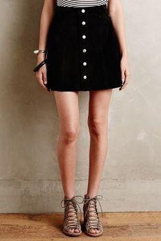 Alexa Chung for AG Suede Mini Skirt Black Skirts #anthrofave