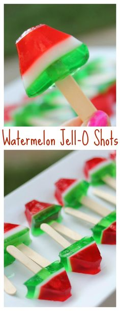 These ridiculously adorable watermelon Jell-O pops look like little layered watermelon slices on a stick. They are the perfect jelly shot to make for summer entertaining!