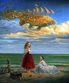 Secrets of Mastery II Art by Michael Cheval Surreal illusion art Fantasy Art whimsical Art Salvador Dali, Fantasy Kunst, Fantasy Art, Magic Realism, Surrealism Painting, Wassily Kandinsky, Fish Art, Whimsical Art, Surreal Art
