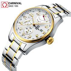 5d86b5f28c2 Carnaval Import Movimento Automático Homens Relógio À Prova D  Água 150 M  Aço Inoxidável 316L