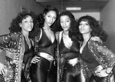 Philadelphia's own Sister Sledge: Kathy, Debbie, Kim and Joni in England, 1981. Photo by SSPL/Getty Images.