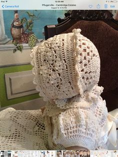 A crochet pattern for field of flowers christening bonnet. This pattern is made to use no. It includes instruction for and months. Baby Bonnet Pattern, Baby Hat Knitting Pattern, Baby Dress Patterns, Baby Hats Knitting, Beanie Pattern, Crochet Baby Bonnet, Baby Girl Crochet, Crochet Hats, Crochet Patterns Filet