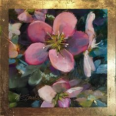 """Hellebores is and original daily 6""""x6"""" oil painting by Lancaster, Pa artist Kim Smith on raised panel #hellebores #originalart #dailypainting #floralart #homedecor #interiordesign"""