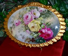 Limoges Gorgeous Gold Framed Porcelain Plaque/Wall Art with Exquisite Romantic Red, Pink and Yellow Roses