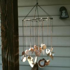 DIY wind chime with shells you collect from the beach