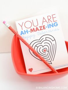 Prinatable non-candy Valentine Maze. Fun activity for the classroom. Use washi tape to attach a pencil!