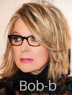 shoulder + length + hairstyles + over + 50 + – + Diane + Keaton + layered + bob + haircut … Layered Bob Hairstyles, Hairstyles Over 50, Trendy Hairstyles, Medium Hairstyles, Medium Haircuts, Meg Ryan Hairstyles, Glasses Hairstyles, Blonde Hairstyles, Hairstyle Short